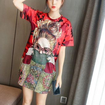 Small Wow Maternity Korean O-neck Print Cotton Loose Above Knee Dress Multicolor - intl ...