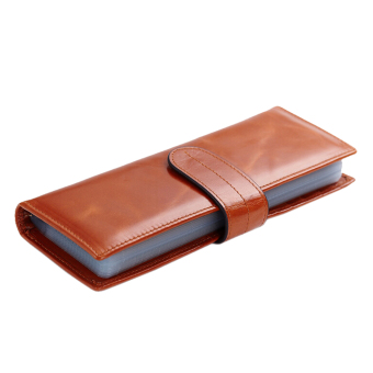 Card Wallet, Boshiho Oil Waxy Genuine Leather Credit Card Holder Business Name ID Card Case Book Style 56 Card Slots(Brown)