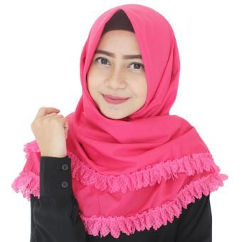 Paket Parisku Segiempat Katun Ruffle Pink Fanta Plus Klip Jilbab Dan Inners Ciput .