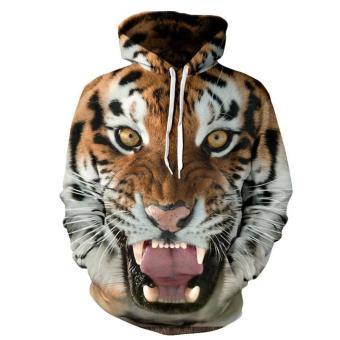 ... Kuhong Men Tiger 3D Printing Loose Hooded Sweater Coat Jacket intl