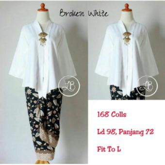 Harga 168 Collection Atasan Blouse Moniq Abaya Dan Rok Lilit Batik-Putih Gading