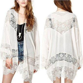 zanzea renda kain sutera tipis Kimono Cardigan (putih) ...