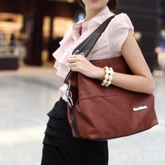 Galeri Gambar Lady Leather Satchel Handbag Shoulder Tote Messenger Crossbody Bag Brown Model Terkini