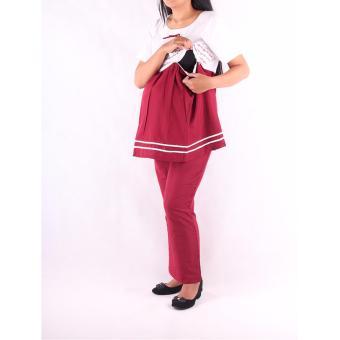 Detail Gambar HMILL Baju Hamil Setelan Hamil Menyusui 058 - Merah Terbaru