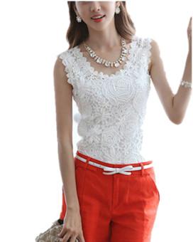 ZANZEA Wanita Renda Pakaian Atas Putih