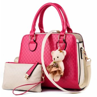 Vicria Tas Branded Wanita 2in1 - High Quality PU Leather Korean Elegant Bag Style TS2166 -