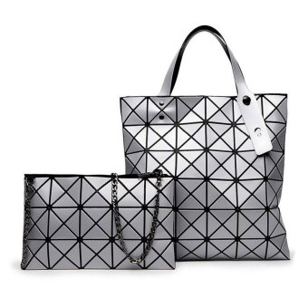 Harga Tas Fashion - Trendy Geometric 2 in 1 - Silver