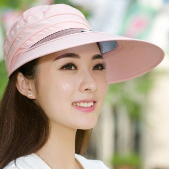 Harga Women Girl Fashion Summer Sun Hat Sandy Beach Wide-brimmed Cap UV Protection Polyester (Light Pink)