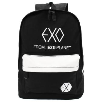 Harga Tas Ransel Pria Colorful Fashion EXO Canvas Backpacks Rucksacks Student School Bags Travel Outdoor Latop Bag black