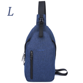 Harga Tigernu merek ukuran L tali selempang kain Oxford Waterproof telepon BagT - b8027l (biru)- International