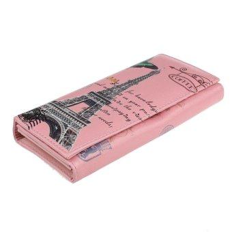 Butterfly Tower Pattern Women Long Purse Clutch Wallet Bag Card Holder Pink ...