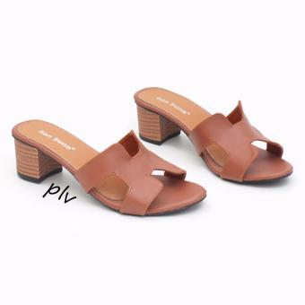 Harga San Dona Open Toe Block Mid Heel Sandals HH01 - Tan