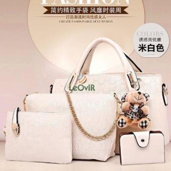 Tas Branded Wanita - Top-Handle Bags - PU Leather - Beige - 34053