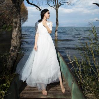 Harga Fashion Hollow Out Elegant White Lace Dress Wedding Party High Quality Women Beach Long Dresses - intl