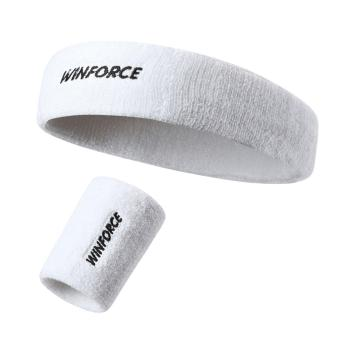 Harga Cotton Sport Headband Sweatband Head Band For Basketball Hair Band and Wristband (White)