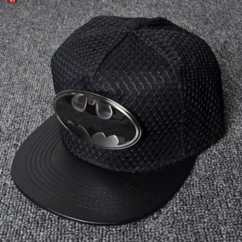 New embroidery iron bat Batman hip hop hat men and women composite hanging net flat along the baseball cap(Black) - intl