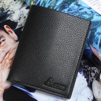 Gambar Produk Man short vertical Wallet section head layer cowhide Genuine Leather Slim retro men's youth Wallet(Black) - Intl Lengkap