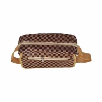 AMT Tas Selempang Fashion Bag Wanita Motif Catur - Coklat - 4 .