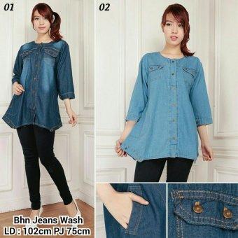 168 Collection Atasan Blouse Savyana Kemeja Tunik Jeans-Biru Muda