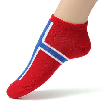 Harga Men Women National Flag Ankle Low Cut Casual Cotton Socks Sport Boat Invisible Norway
