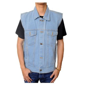 Harga Raja Clothing Rompi Denim Light - Biru
