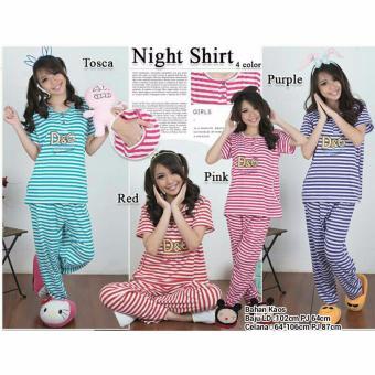 Stelan baju tidur piyama jumbo wanita long pants Sweetstripe - ungu