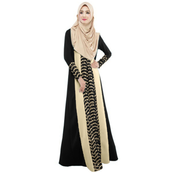 Harga New Fashion Women Muslim Maxi Dress Contrast Color Pitches Long Sleeve Abaya Kaftan Islamic Indonesia Robe Long Dress - intl