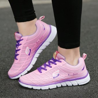 Harga 9doo Men's Woman Breathable Running Shoes Fashion Hiking Shoes Casual outdoor sports shoes(Pink) - intl