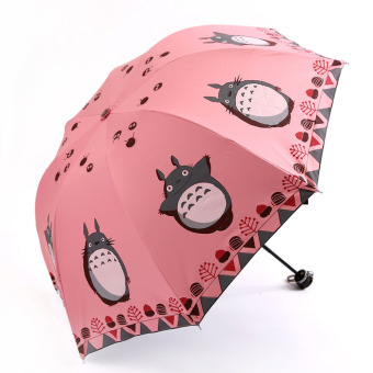FASHION tetanggaku Totoro desain kreatif anti sinar UV matahari payung lipat tiga kawasan UV-Ultra