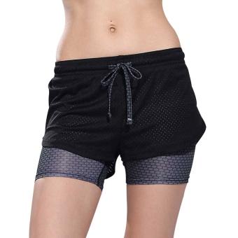 GrayWomens Yoga Wanita Memakai Celana Lari Olahraga Lari Latihan Kebugaran Ruang Olahraga Celana Pendek