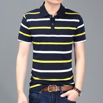 Men's Fashion Stripes Lapel Short Sleeve Polo Shirt Cotton T-shirt DF09 - intl