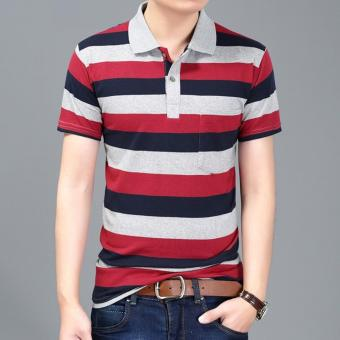 Men's Fashion Stripes Lapel Short Sleeve Polo Shirt Cotton T-shirt DF29 - intl