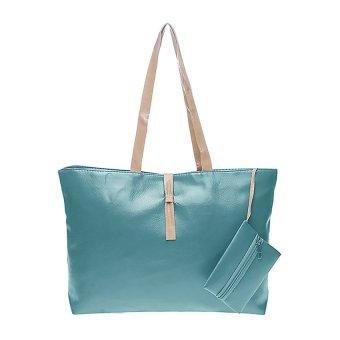 Tas Korea Mode Fashion PU Leather Tote Shoulder Handbag Bags - Hijau .