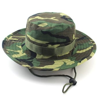 Harga New Bucket Hat Boonie Hunting Fishing Outdoor Camouflage Cap Wide Brim Military Unisex-Forest Camo