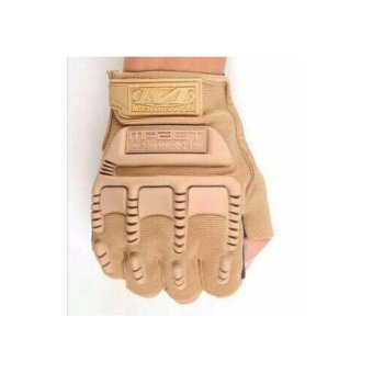 Harga Sarung Tangan Glove Tactical Army Military Bikers M-PACT MECHANIX Half Finger - Cream
