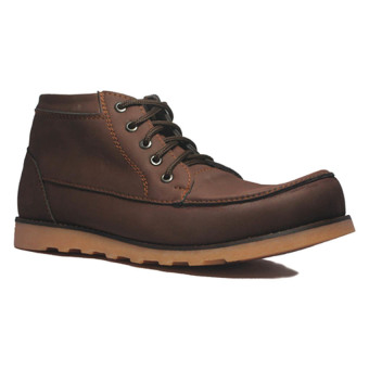 D-Island Shoes Boots Projects Leather - Cokelat .