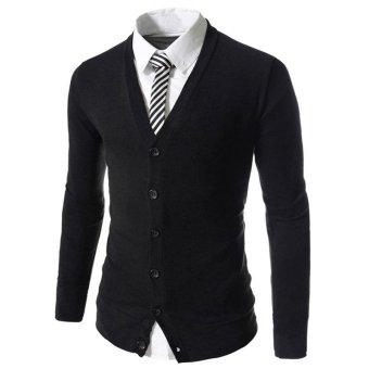 Cocotina The Man Bergaya Langsing Cocok V-Leher Rajut Dipadu Pakaian Baju Sweter Kardigan Lengan