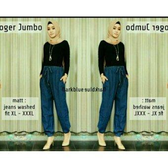 168 Collection Celana Joger Rosma Jeans Jumbo Pant-Biru