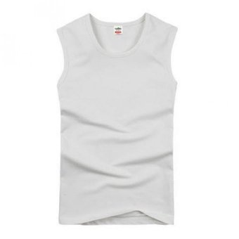 Harga Men's Cotton Wide Shoulder Sleeveless Vest Breathable Exercise Vest White