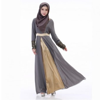 Harga Women Long Sleeve Muslim Dress Islamic Female Abaya Arabe in Dubai Kaftan Malaysian Islamic Muslim Clothing (Gray)
