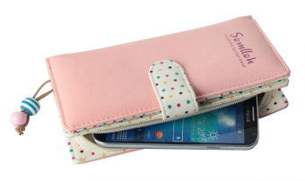 niceEshop Exquisite Designed Lady Card Holder PU Leather Zipper Phone Purse Wallet Bag Pink