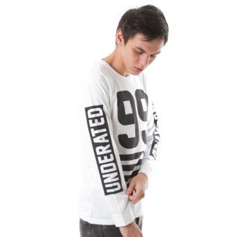 HIGH5 Kaos Long Sleeve Tangan Panjang Ninety Nine Underated Putih White Fashion Pria .