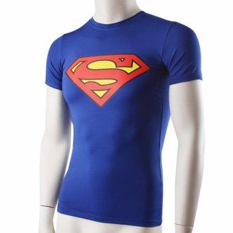 Men's fitness tight-fitting short-sleeve T-shirt Superman high-elastic wicking