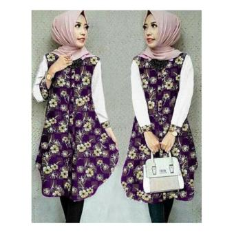 Sb Collection Atasan Blouse Atika Long Tunik Kemeja-Putih