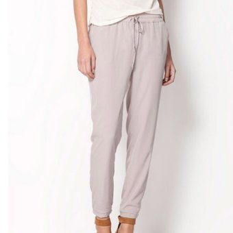 ... 360DSC Ninth Ankle Length Women Casual Comfortable Elastic Waist Haroun Pants Grey M intl