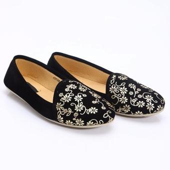 Harga Dr Kevin Woman Flat Shoes 43134 Black/Gold