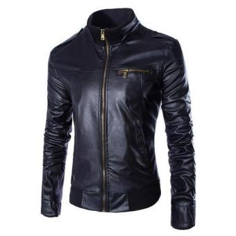 Harga Jaket Kulit - Casual Jacket Bikers Style - Black
