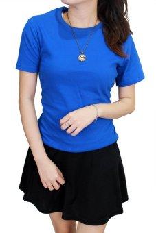 Gudang Fashion - Kaos Polos Pendek Wanita O-Neck - Biru Benhur