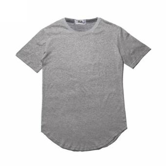Harga Summer Street Style Curved Hem Long T-shirt (Grey) - intl