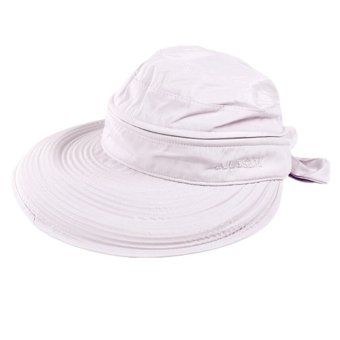 Detachable Women Summer Golf Anti-UV Wide Visor Brim Bowknot Beach Sun Hat Cap (Light Purple)